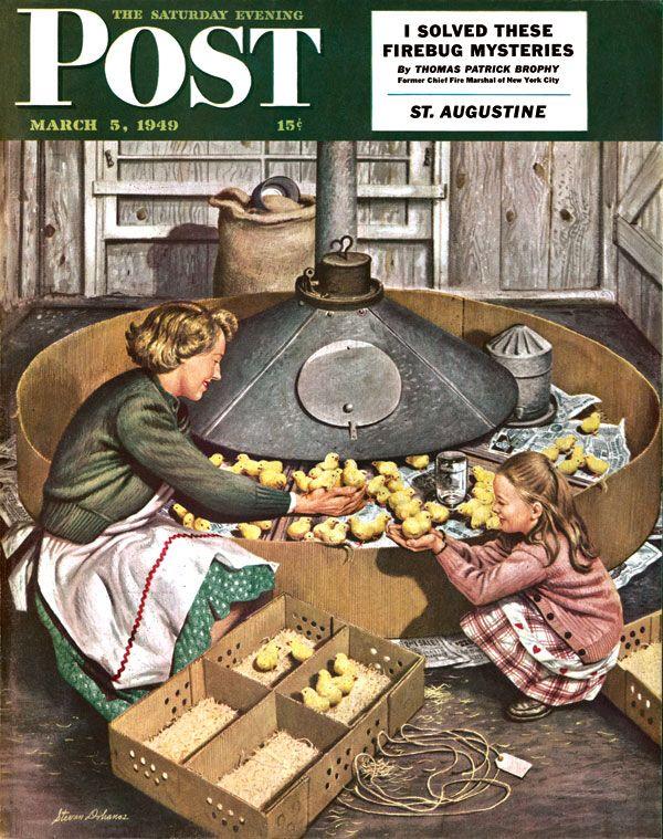 Chicks in Incubator. Saturday Evening Post, March 5, 1949 (Stevan Dohanos)