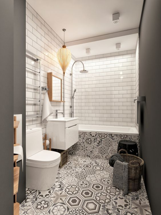 Patterned floor tiles have been used to great effect in this beautiful bathroom. Continuing them on to the bath panel is a nice design idea.
