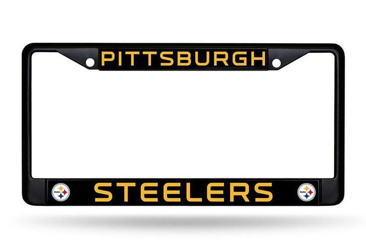 Pittsburgh Steelers License Plate Frame Chrome Black