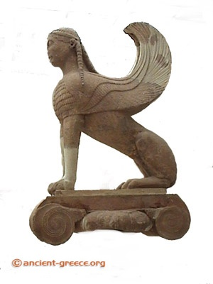 Sphinx of Naxos sitting on Ionic column. Mythical monster with head of women, breast of bird, and body of lion. c. 560 BC. Delphi Museum.DSC00562.jpg 300×400 pixels