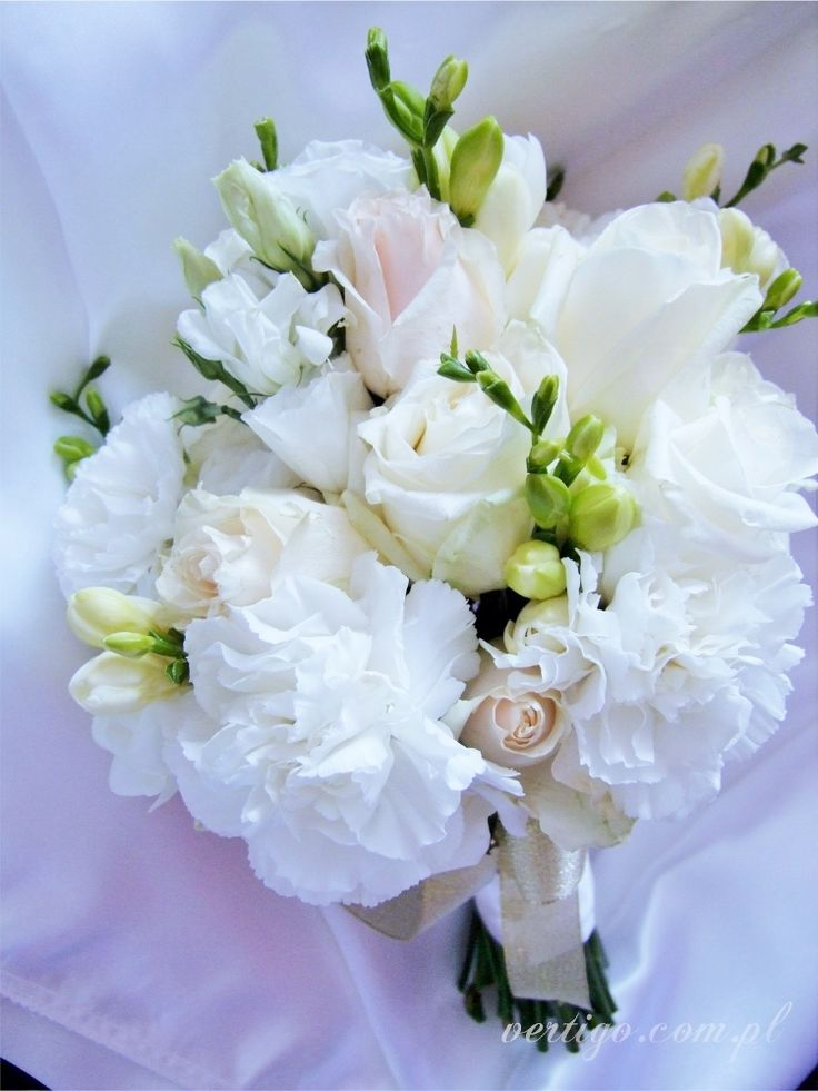 wedding bouquet, freesia, eustoma, carnations, roses, cream and white wedding bouquet