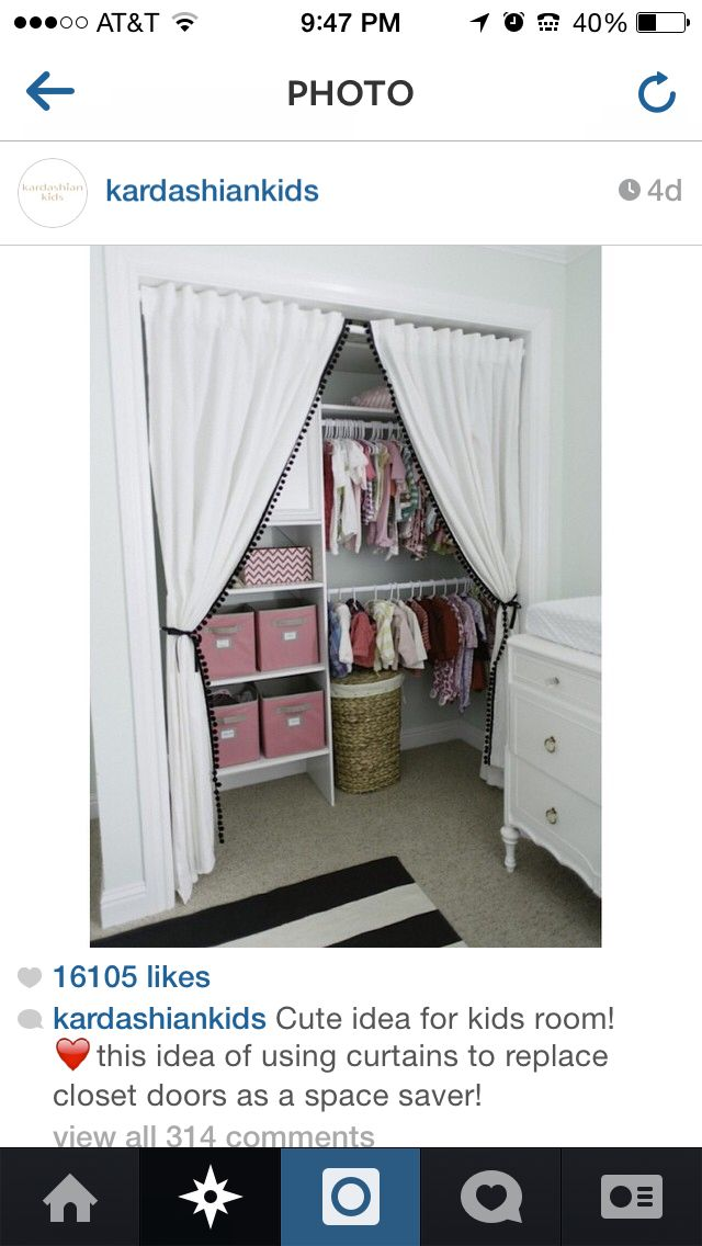 Cute Closet For Kids Just Use Curtains Instead Of Doors
