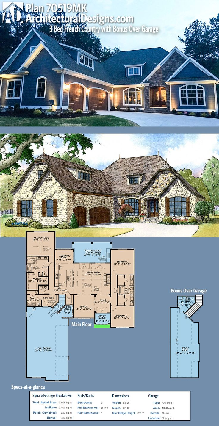 Plan 70519mk 3 bed french country with bonus over garage for French country garage plans