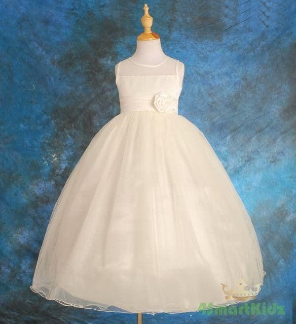 Ivory+Wedding+Flower+Girl+Communion+Party+Dress+Size+6
