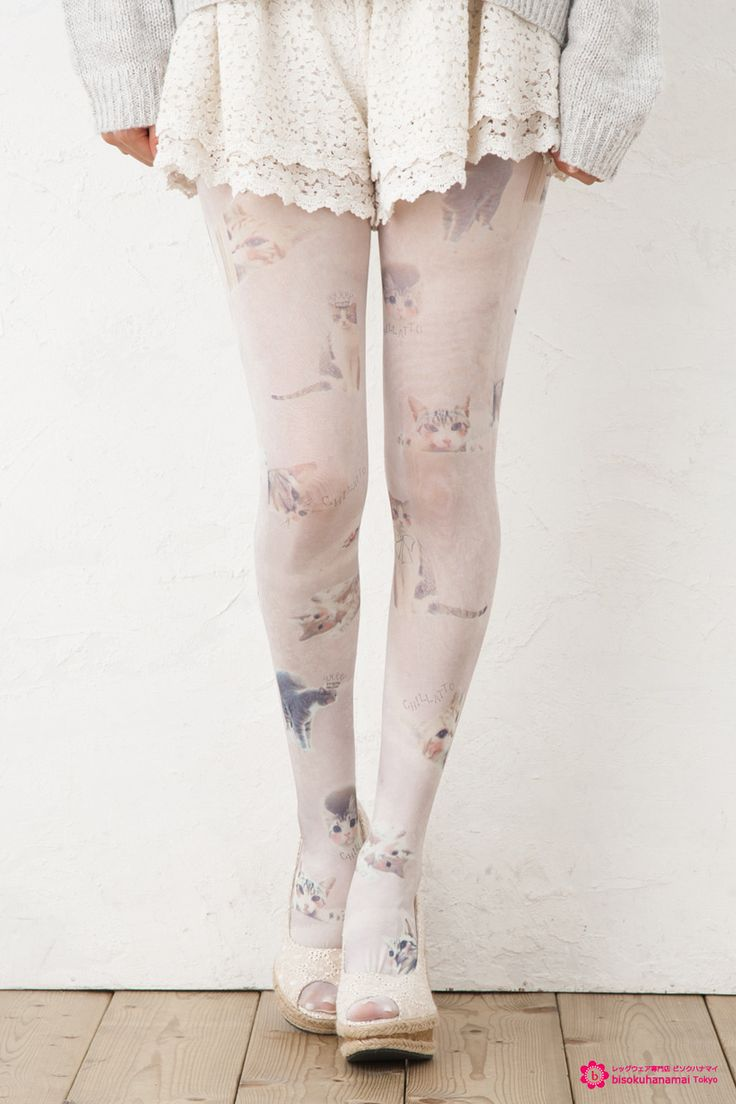 Cat & Towel print tights JPY1300(without TAX)