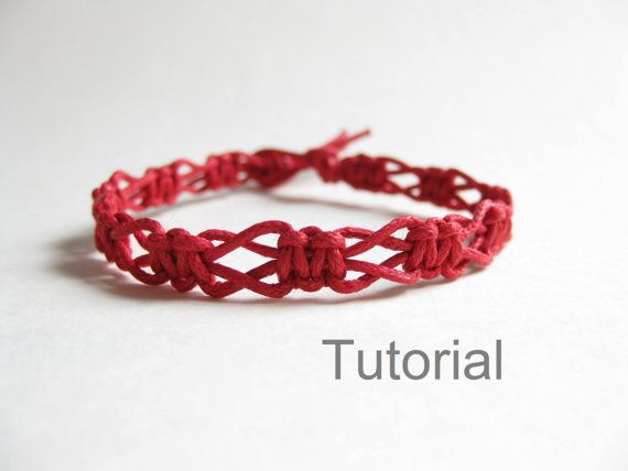 Beginners macrame knotted bracelet pdf tutorial pattern easy red diy instructions tuto jewelry step by step makpame micro jewellery how to