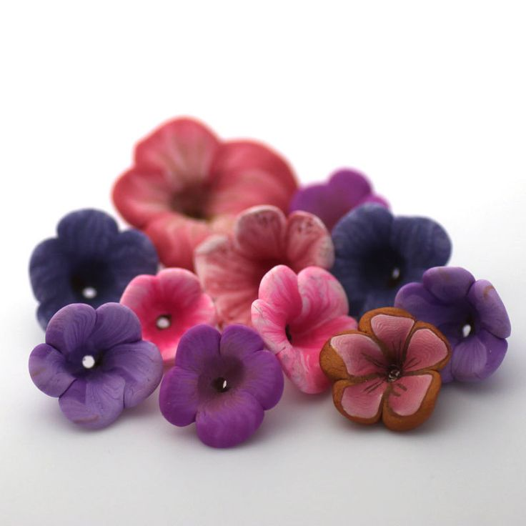 Spring Flowers, Polymer Clay Flowers, Clay Bead Mix, Purple and Pink 623. $10.00, via Etsy.