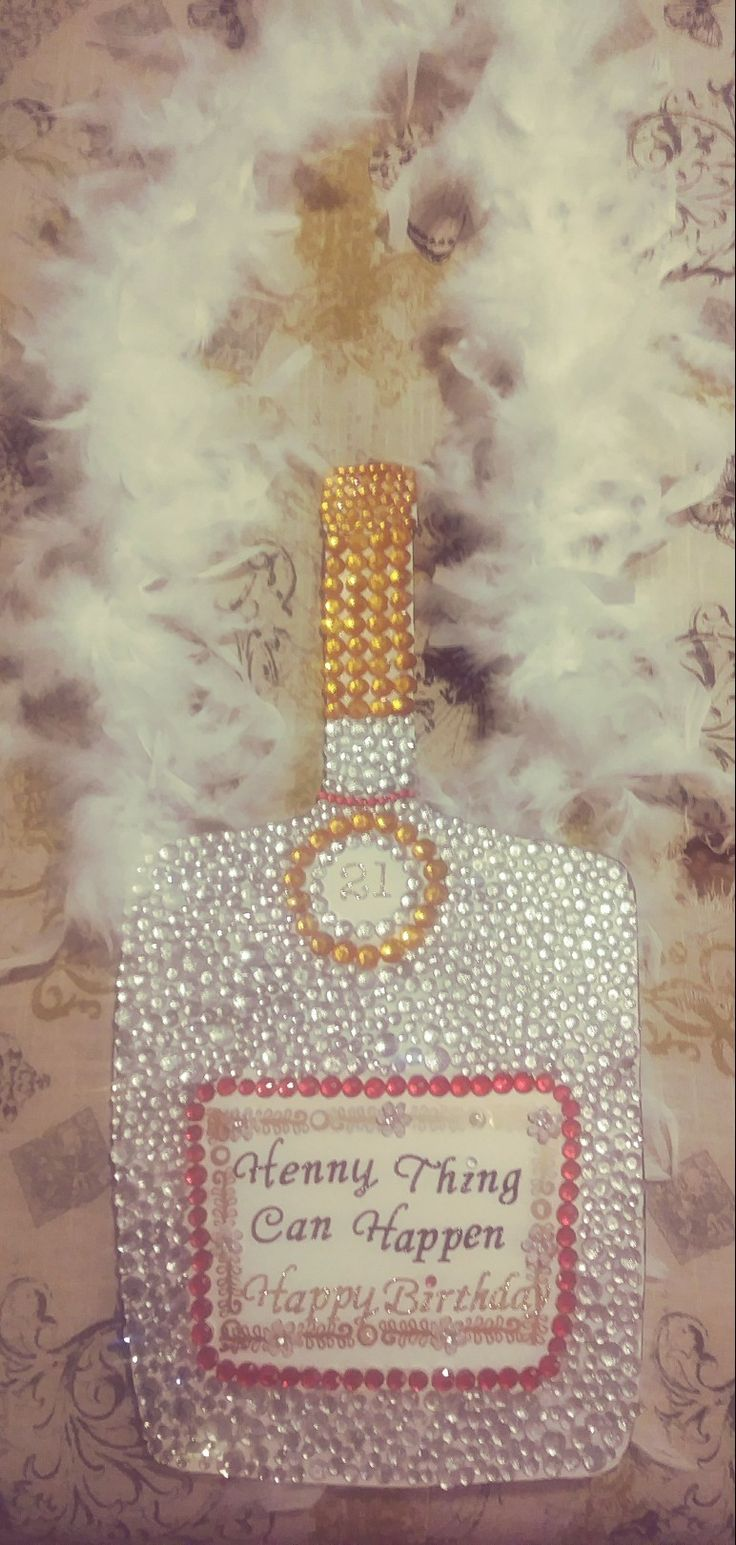 Tried it and    Made free    Made from poster board bedazzled Hennessy bottle
