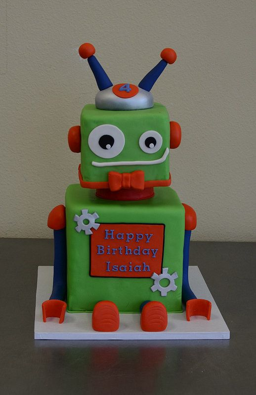 Robot cake - just the head/neck & bowtie(!!!) for the top of the cupcake stand. So cute!
