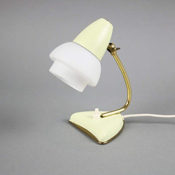 Small yellow gold chartreuse german modern bedside lamp Mid-Century by LeKosmosBerlin