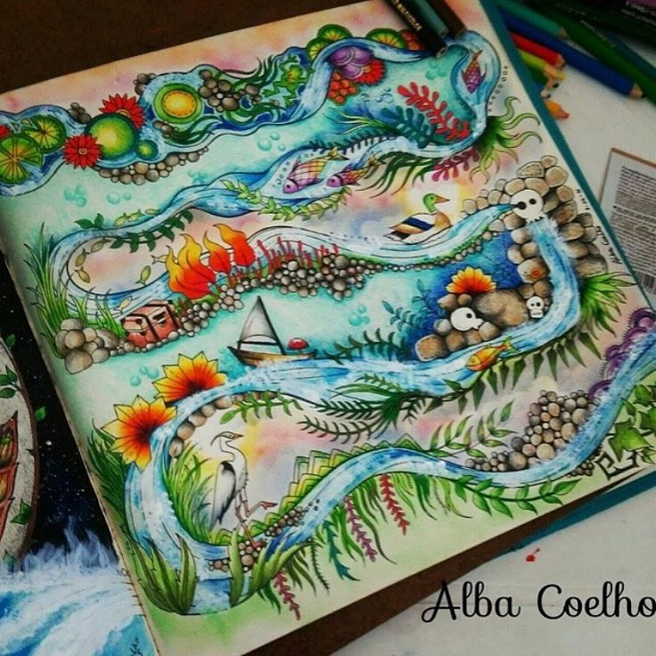River Enchanted Forest Joanna BasfordPrismacolorAdult ColoringColoring BooksColored