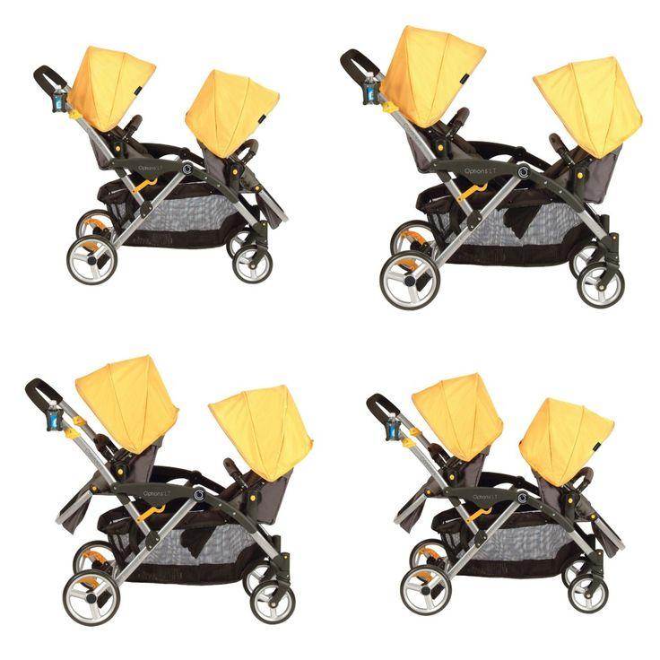 The Contours Options LT Tandem has reversible seats for 6 different seating configurations:  -Both facing forward  -Back to back  -Both facing parent  -Facing each other  -With an infant car seat  -Front seat only for extra storage