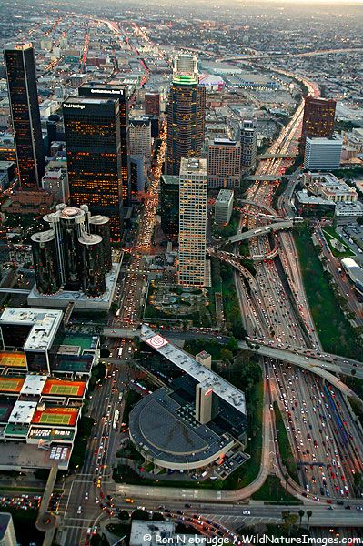 U.S.A. Aerial view of Downtown Los Angeles, California