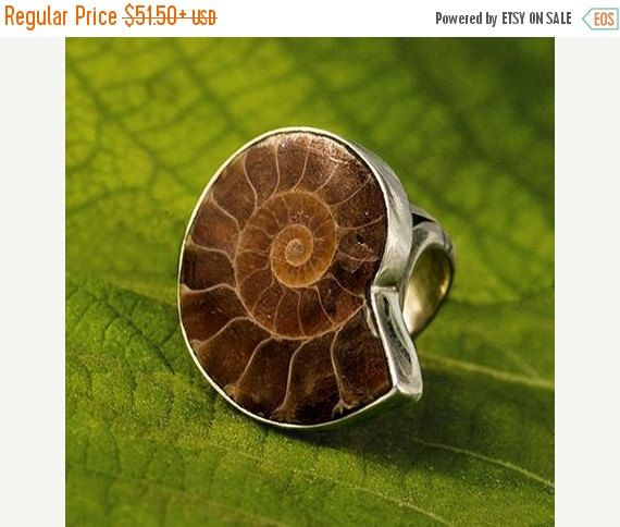ON SALE 15% OFF Ammonite Ring Fossil Jewelry Tribal by RONIBIZA