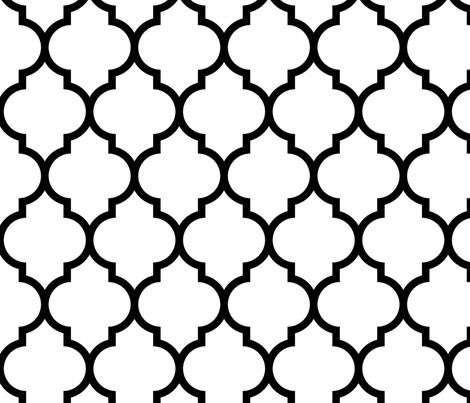 Ordinaire Moroccan Quatrefoil White With Black Lattice Fabric By Spacefem On  Spoonflower   Custom Fabric