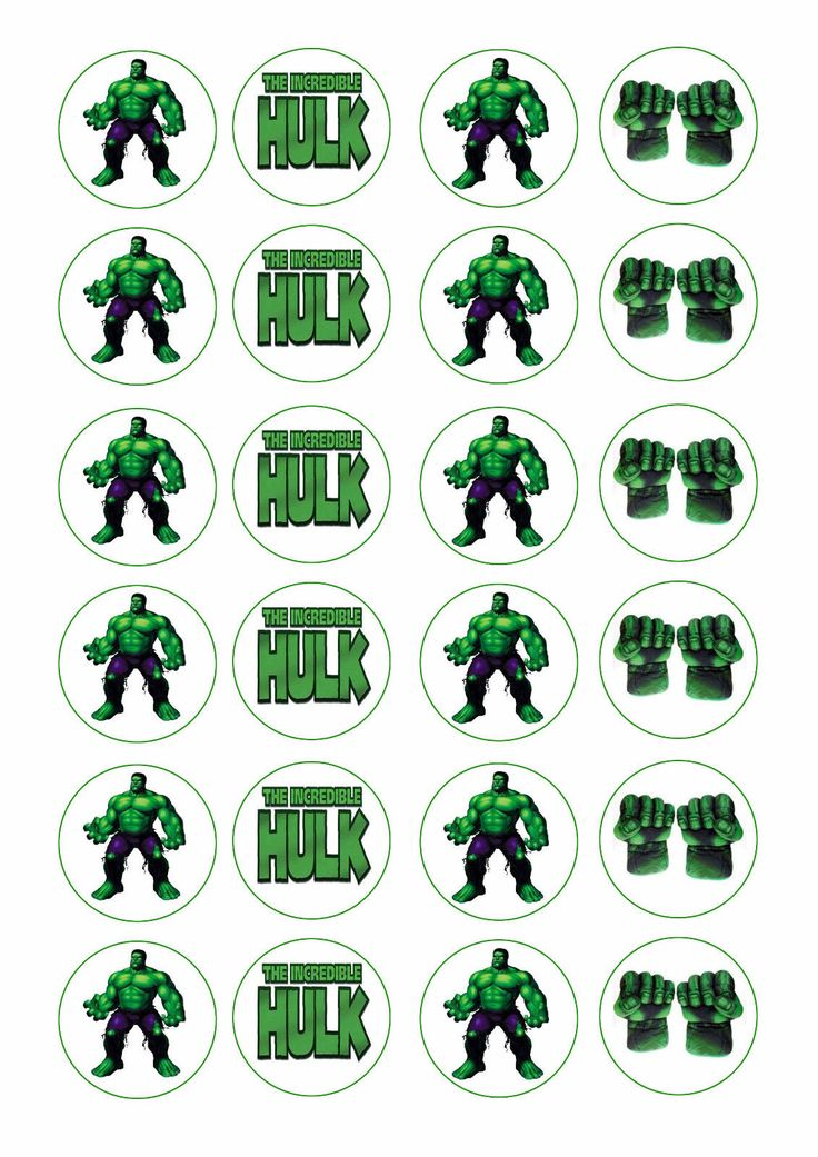 24 assorted The Incredible Hulk 4cm round cupcake edible images toppers