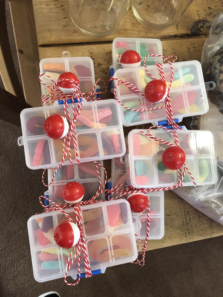 "Mini ""Tackle boxes"" for a fishing theme party! These are"