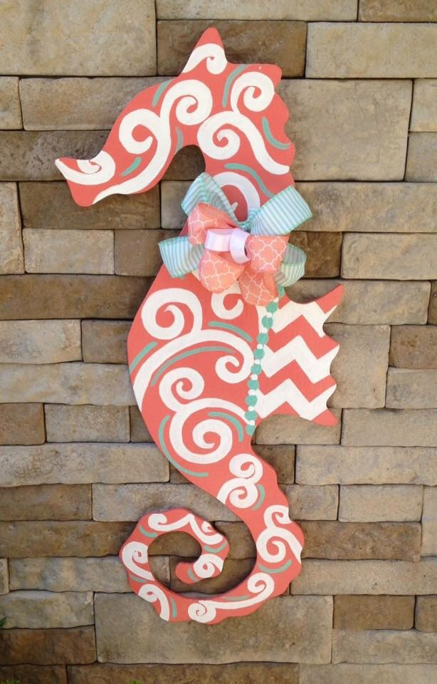 Hand Painted Sea Horse Door Hanger by KJsKutOuts on Etsy https://www.etsy.com/listing/239065504/hand-painted-sea-horse-door-hanger