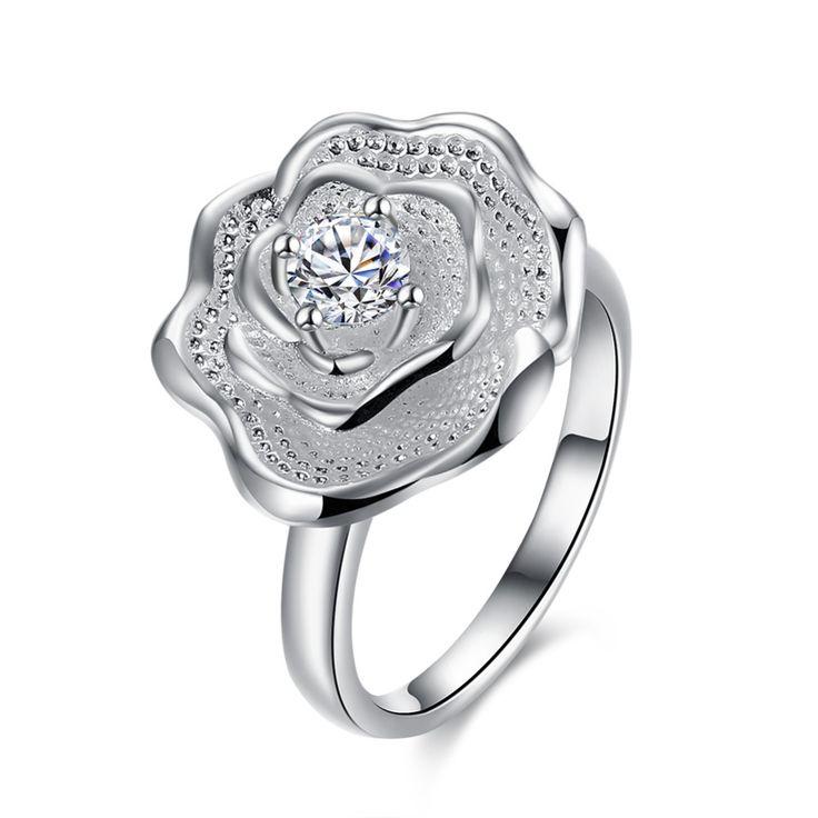 Большой цветок розы прелести стили Кристалл 925 серебряные Кольца с красивой подарочной коробке для Летие группа R881 Мода 2017 Новый кольцакупить в магазине Nice MenнаAliExpress