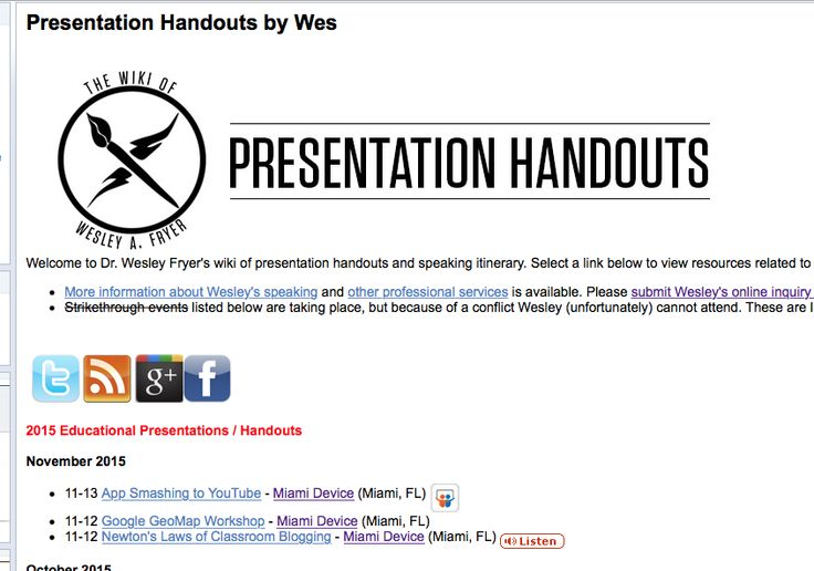 Presentation Handouts, Wes Fryer, A treasure trove of resources can be found here