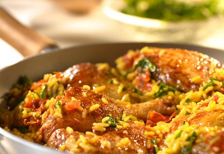 This traditional West African dish is a favorite right here at home...it features chicken, rice and veggies all in one skillet, so clean-up is a breeze.
