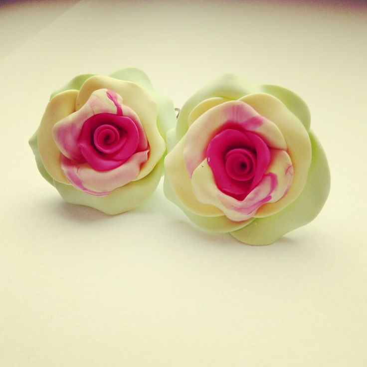 rose spring earrings FIMO (hand made) spring green, yellow, pink BY SHARYS