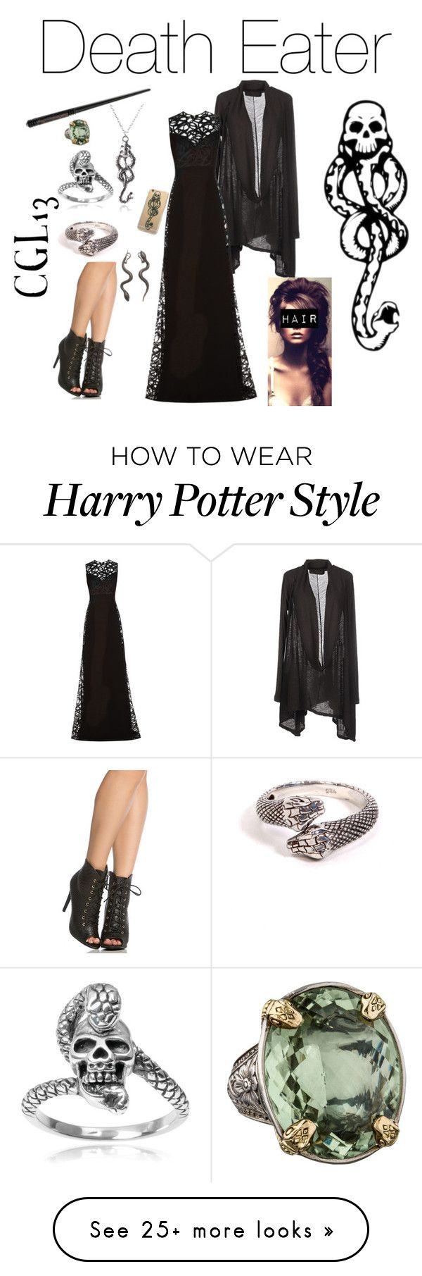 """Death Eater"" by cgl13 on Polyvore featuring Tressa, Nicolas & Mark, Faraone Mennella by R.F.M.A.S., Elie Saab and Konstantino"