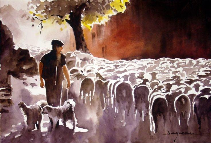 longue route - Painting, 60x80 cm ©2014 by jean guy DAGNEAU - Figurative Art, Paper, Animals, vie pastorale