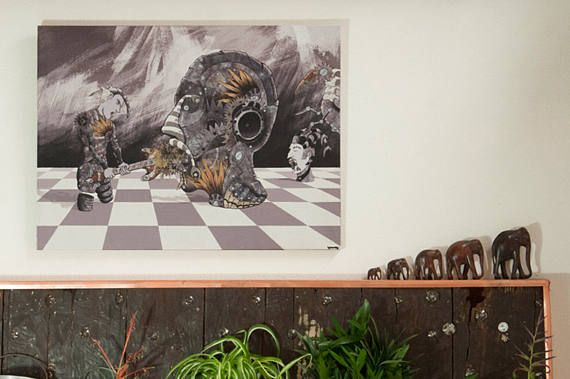 downlodable images,Giclee print -FRANKIE'S GAME- steampunk style, original painting €26,23
