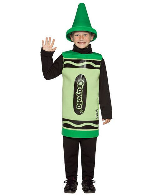 Green Crayola Crayon Children's Halloween Costume - The grass will be a little more green with this fun officially licensed Crayola Crayon costume. This one piece tunic has the signature design with matching pointed hat. It is a fun option for Halloween, colour day and making a family or group costume. #yyc #Calgary #costume #CrayolaCrayon
