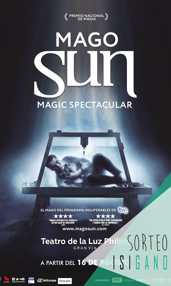 Grupo Smedia quiere premiaros con una invitación doble para el espectáculo de 'Mago Sun' a disfrutar el miércoles 16 de agosto a las 19:30 valorada en 52€, la compañía la eliges tú! #sorteo #gratis #sorteosgratis #sorteosmadrid #Madrid #suerte #luck #goodluck #premio #free #regalo #concurso #magia #show #ilusionismo #MagoSun #magic