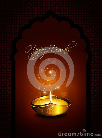 Oil lamp with diwali greetings over gold background