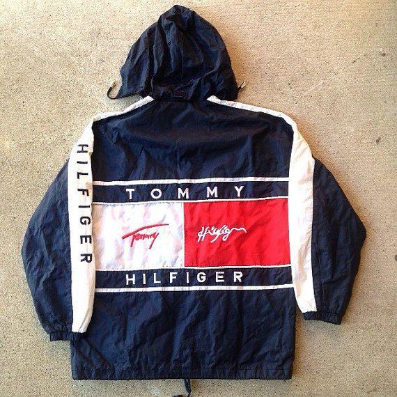 Vintage 90's Tommy Hilfiger Light Windbreaker Big Logo Size L Coat Jacket