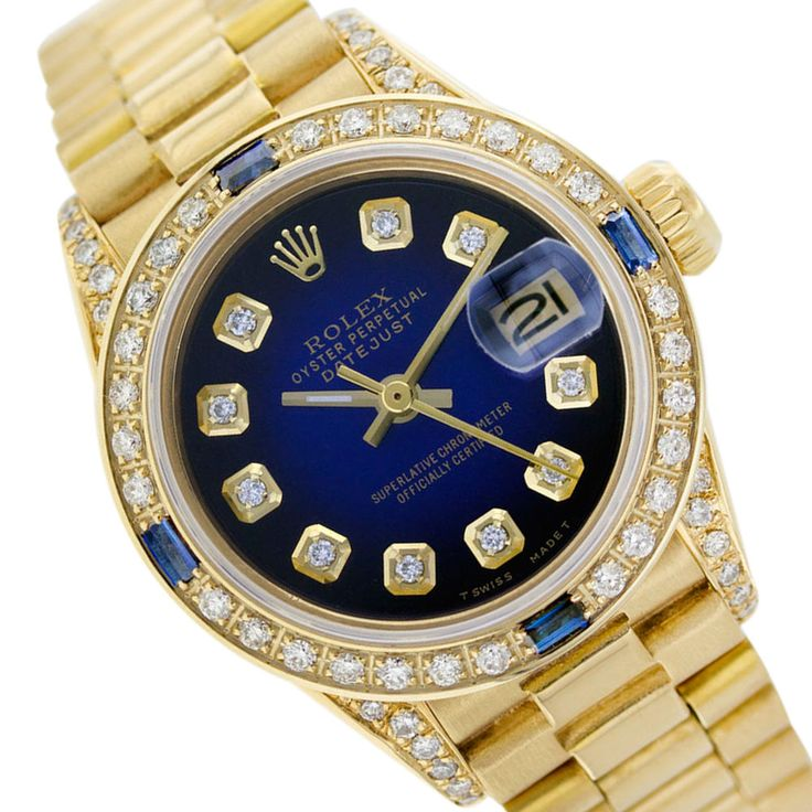 President Band Rolex Datejust 6917 18K Gold Blue Vignette Diamond/Sapphire Watch #Rolex #LuxuryDressStyles