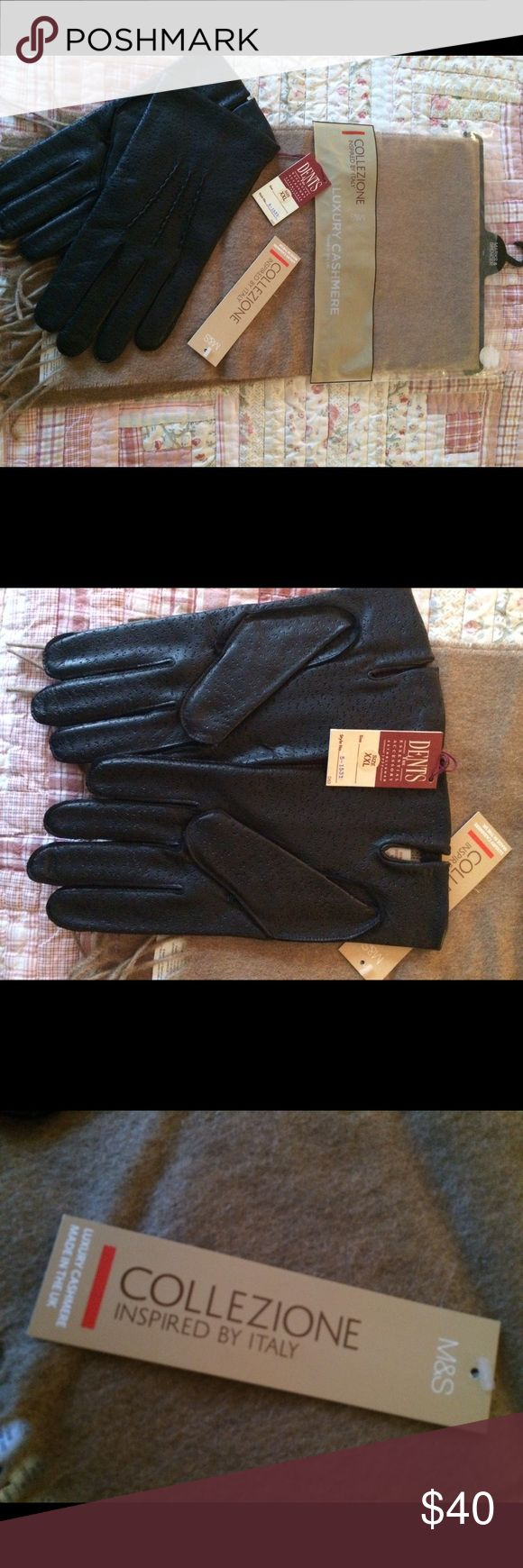 Men's cashmere scarf and leather gloves Brand new men's cashmere scarf and leather men's gloves size XXL Marks & Spencers & Dents Accessories Gloves