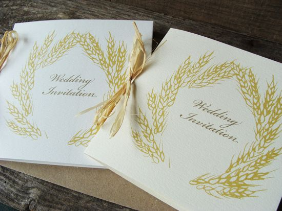 Golden Corn Wedding Invitations For A Country Raffia Bound Made To Order By