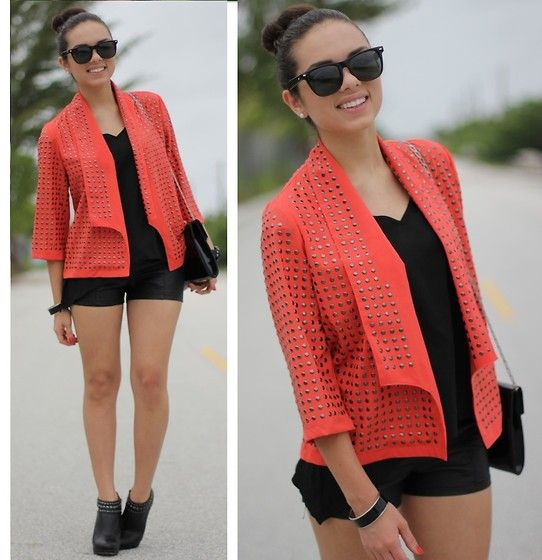 Shop Luv B Jacket, Furor Moda Sunglasses, Furor Moda Top, Forever 21 Leather Shorts, Bcbg Studded Ankle Booties