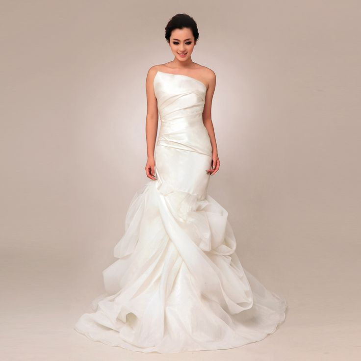 Strapless trumpet mermaid organza wedding dress weddingdressbee.net
