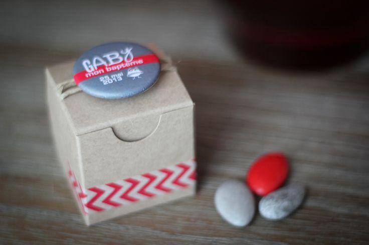 Cube Kraft 5x5x5cm Badge personnalisé  Masking tape chevron  Cordelette naturelle