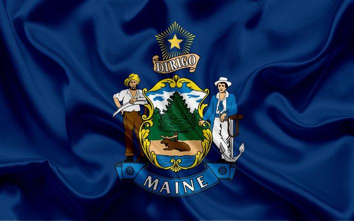 Hämta bilder Maine Flagga, flaggor av Stater, flagga Staten Maine, USA, staten Maine, blå silk flag, Maine vapen