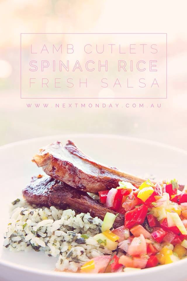 Healthy dinner... Spinach herb rice, lamb cutlets and a fresh salsa. Yum!