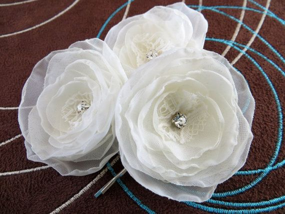 Hey, I found this really awesome Etsy listing at https://www.etsy.com/listing/159636224/ivory-bridal-flower-hair-accessory-set
