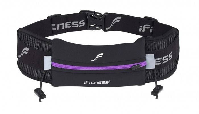 """Ultimate Running Belt"" by iFitness.  · Neoprene Water resistant pouch - will fit most phones.  · Six elastic slots will hold your gels on your belt for easy access.  · Inner pocket will keep your ID/credit cards safe and secure.  · Reflective strips for night time safety.  · Features two toggles to hold your race number.  · One size fits all (adjustable).  · Will not to bounce, ride up or chafe.  · Hand washable – cold water – dry flat."