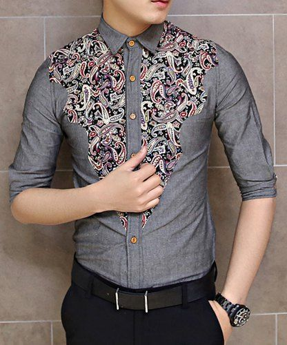 $11.24 Fashion Style Turn-down Collar Floral Print Color Splicing Half Sleeves Shirt For Men