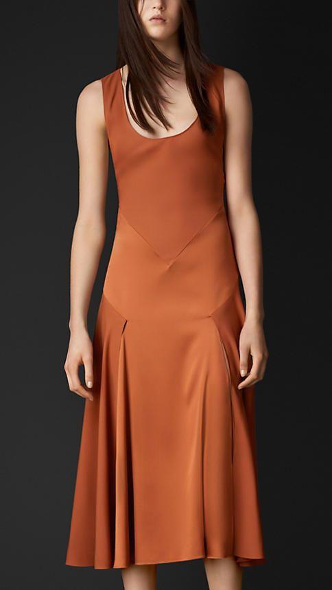 Burberry Prorsum Silk Sateen Contrast Detail Dress
