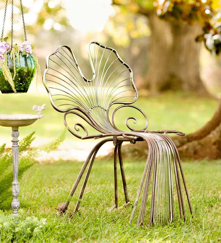 Ginkgo Leaf Outdoor Chair, in Metal  I do wonder if the back should be more upright for comfort though.