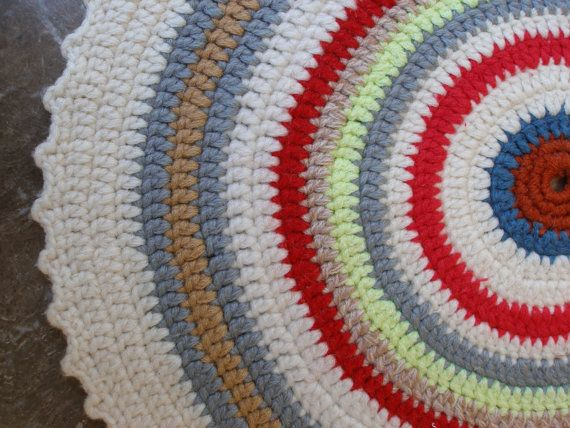 Vintage Round Seat Pad Thin Crochet  Chair -Stool Cushion by VintageHomeStories,