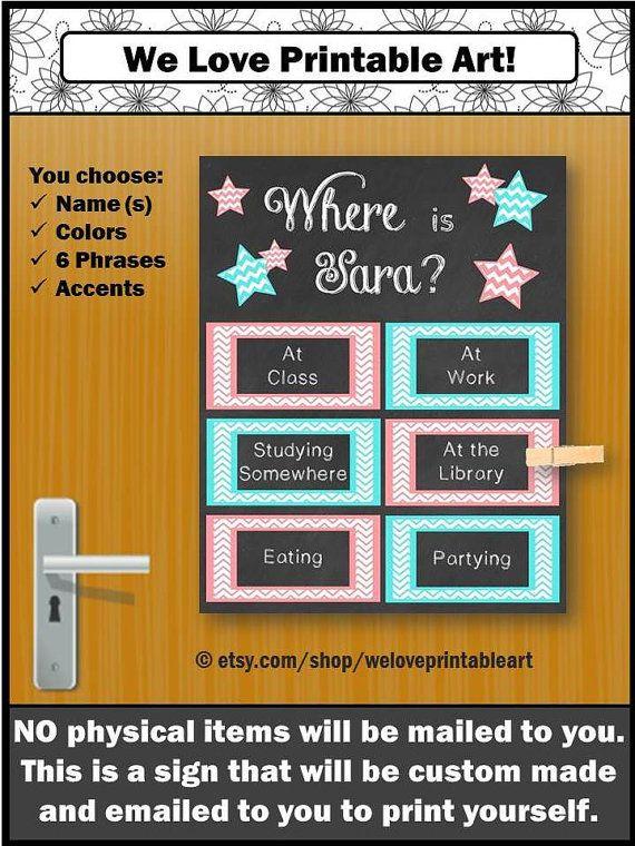 CUSTOM College Dorm Door Sign - Great gift for your daughter or roommate