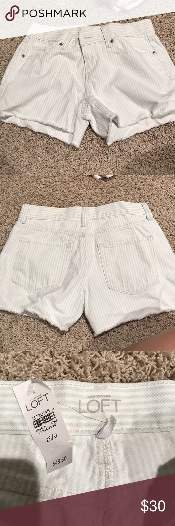 Anne Taylor loft shorts Light blue and white stripped shorts- never worn (new with tags)- fringed bottom, very cute! LOFT Shorts