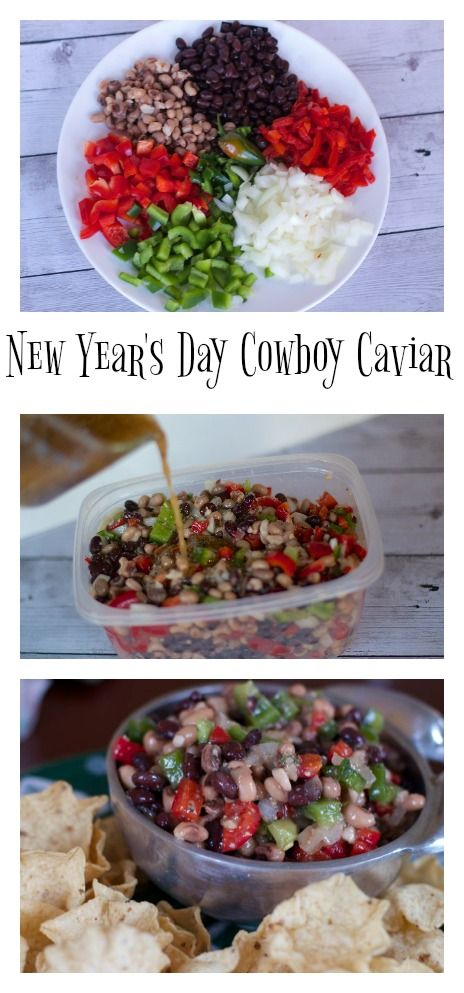 New Years Day Appetizer: Cowboy Caviar Cowboy Caviar is an easy, colorful and inexpensive appetizer recipe that is great for New Years since it has Black eyed peas